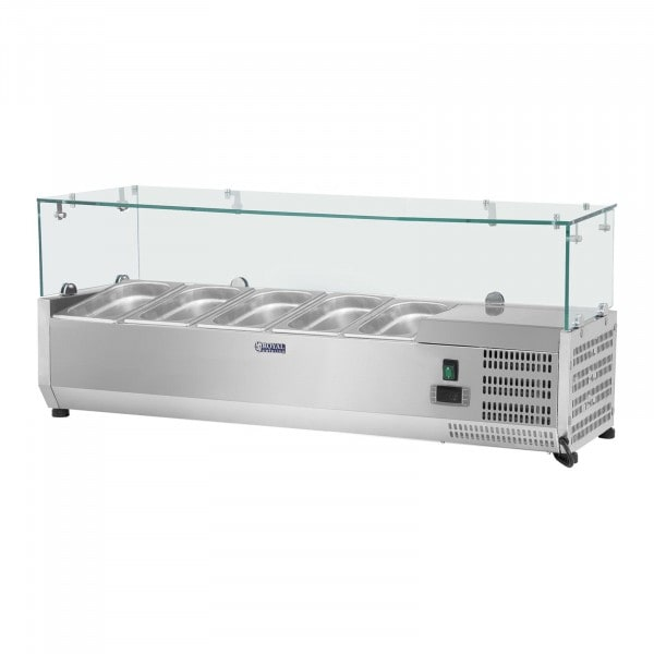 Countertop Refrigerated Display Case - 120 x 33 cm - 5 GN 1/4 Containers - Glass Cover