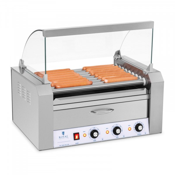 Hotdog Grill - 9 rollers - Warming drawers - Stainless steel