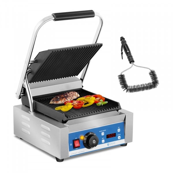 Contact Grill and Grill Brush Set - 1,800 W - ribbed - timer