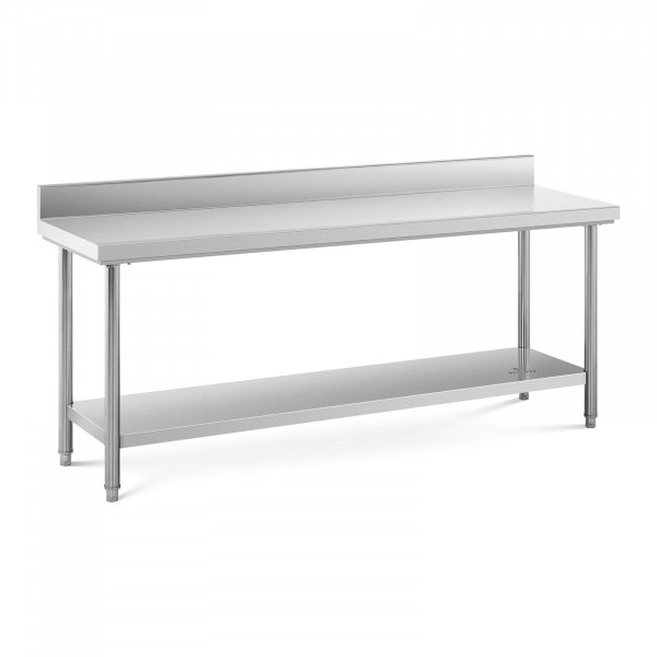 Stainless Steel Work Table - 200 x 60 cm - upstand - 195 kg capacity