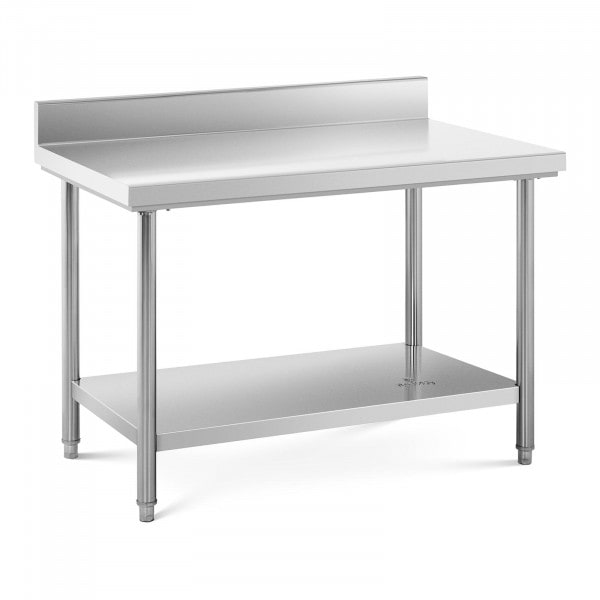 Stainless Steel Work Table - 120 x 70 cm - upstand - 143 kg capacity
