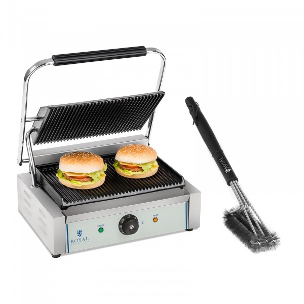Contact Grill and Grill Brush Set - 2,200 W - ribbed