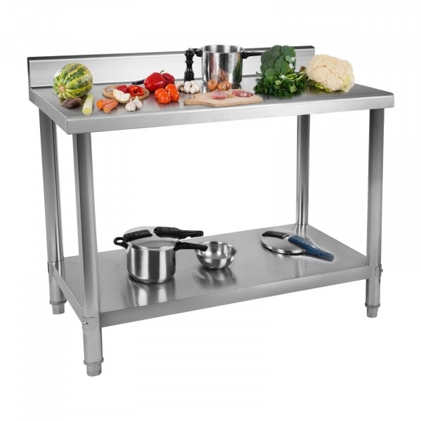 B-WARE Stainless Steel Table - 100 x 60 cm - Upstand - 114 kg capacity