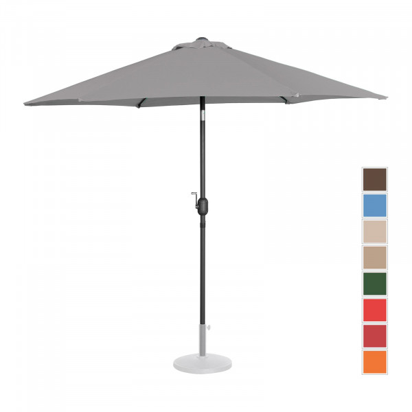 Large Outdoor Umbrella - dark grey - hexagonal - Ø 270 cm - tiltable