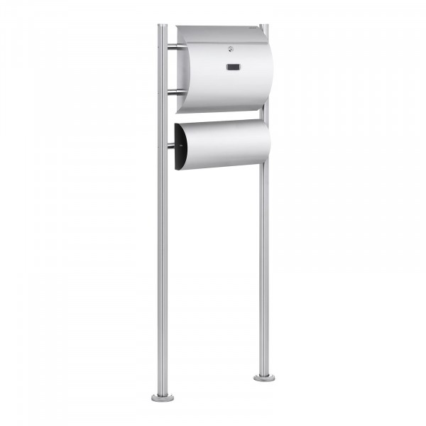 B-WARE Stainless Steel Postbox - 1 Mailbox Plus A Newspaper Compartment