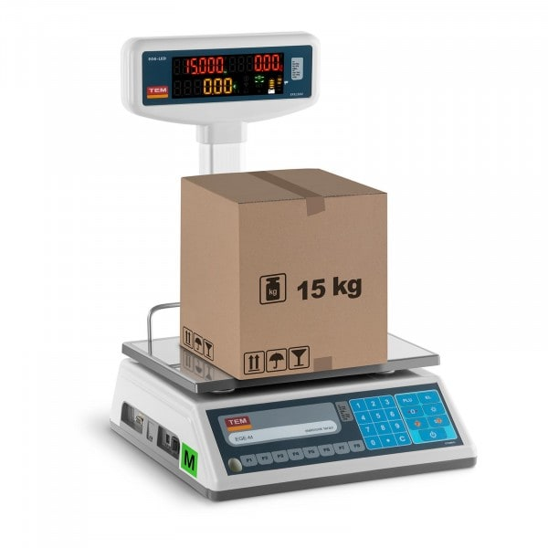 B-WARE Price Scale with LED display - calibrated - 6 kg / 2 g - 15 kg / 5 g