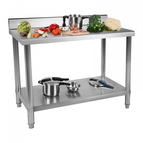 Stainless Steel Table - 120 x 60 cm - Upstand