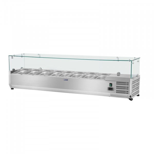Countertop Refrigerated Display Case - 180 x 39 cm - 8 GN 1/3 Containers - Glass Cover