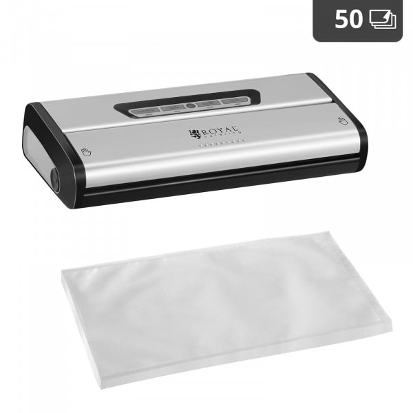 Food Vacuum Sealer Set with 50 Vacuum Bags 28 x 40 cm - 28 cm - Stainless Steel/ABS
