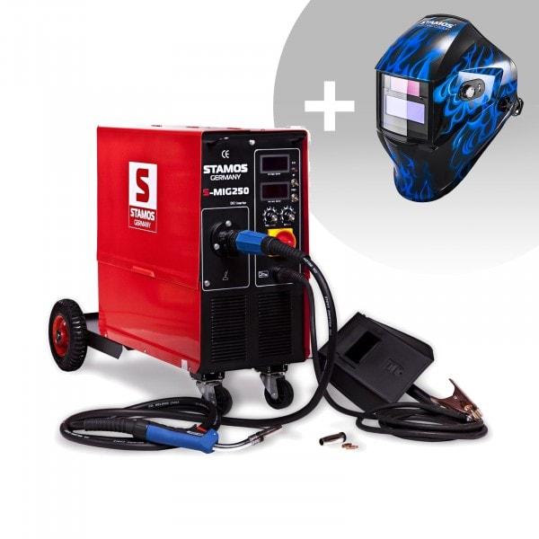 Welding Set MIG/MAG Welder - 250 A - 400 V - with cart + Welding helmet – Sub Zero - EASY SERIES