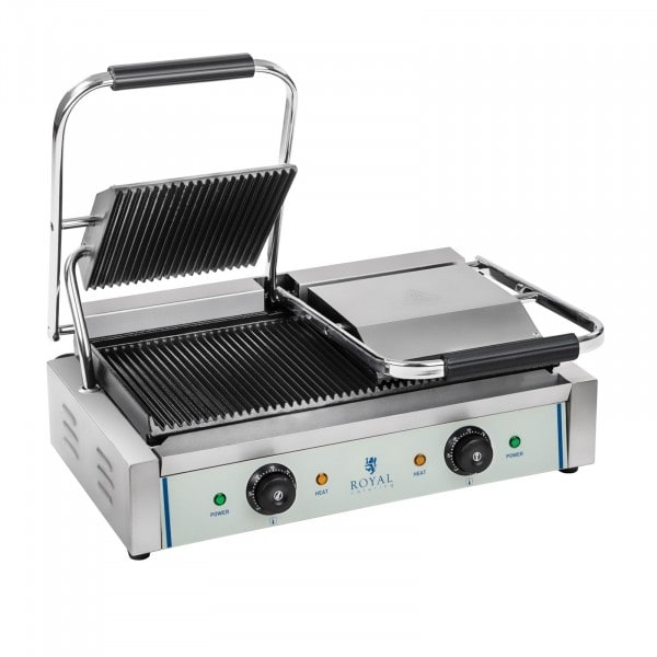 B-WARE Double Contact Grill - Ribbed - 2 x 1,800 W