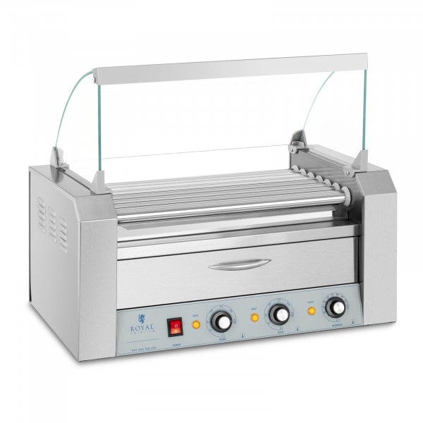 Hot Dog Grill - 7 rollers - warming drawer - stainless steel