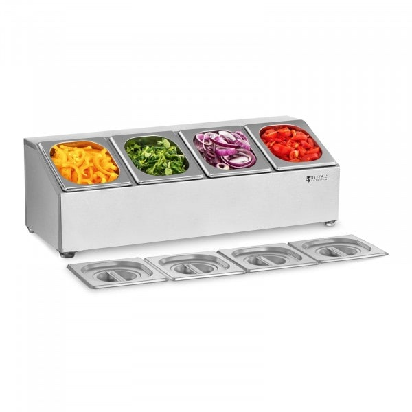 Gastronorm Pan Holder - Incl. 4 GN 1/6 Gastronorm Containers with Lids