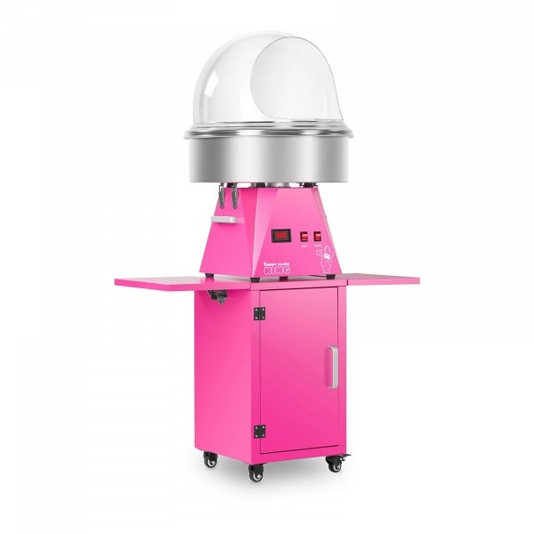 Candy Floss Machine Set with Wagon and Splatter Guard- 52 cm - Pink/Pink