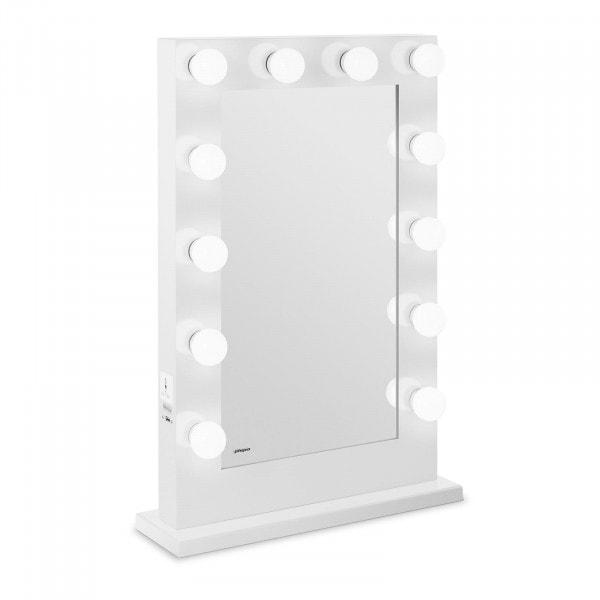 LED Vanity Mirror - white - 12 lights - tall - rectangular