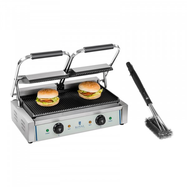 Double Contact Grill and Grill Brush Set - 2 x 1,800 W - ribbed