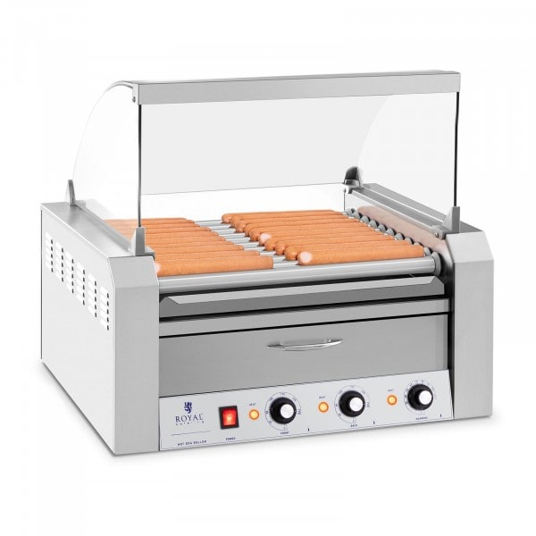 B-WARE Hotdog Grill - 11 rollers - Warming drawers - Stainless steel