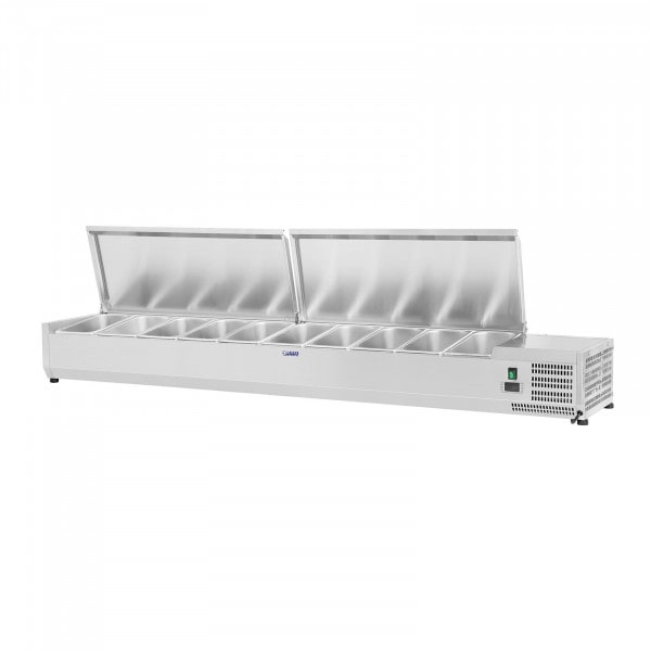 Countertop Refrigerated Display Case - 200 x 33 cm - 10 GN 1/4 Containers