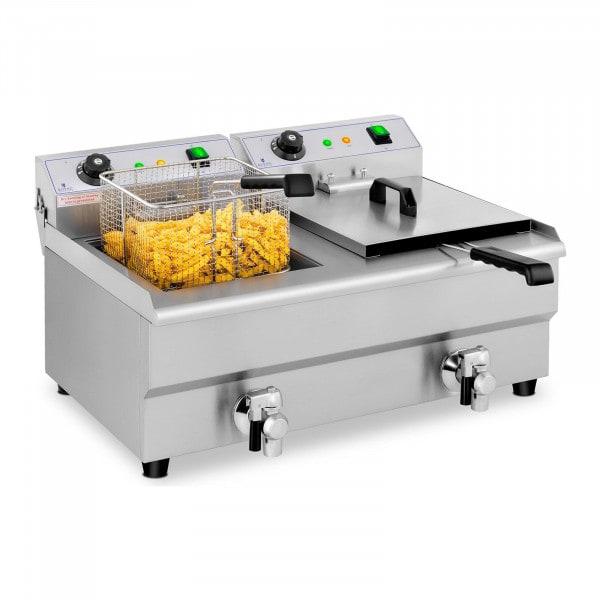 Electric Deep Fryer - 2 x 13 L - Drain taps - 230 V