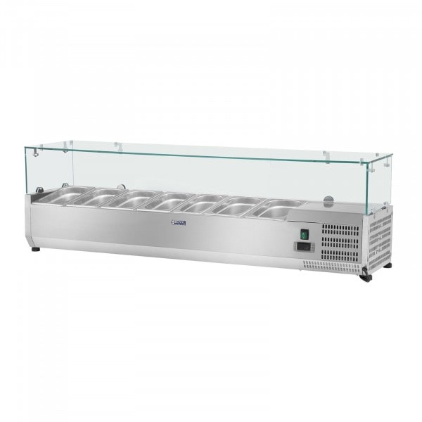 Countertop Refrigerated Display Case - 150 x 33 cm - 7 GN 1/4 Containers - Glass Cover