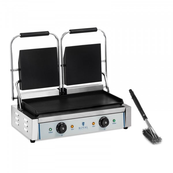 Double Contact Grill and 3-Sided Grill Brush Set - smooth - 2 x 1,800 W