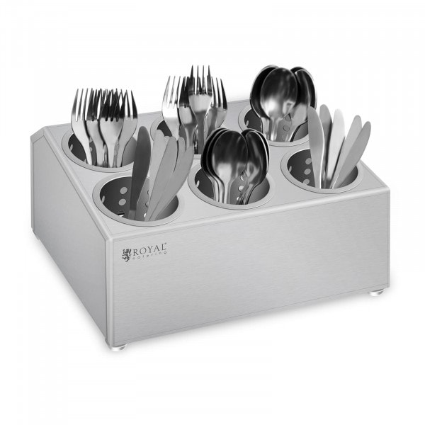 Cutlery container - Stainless steel - With 6 cutlery holders