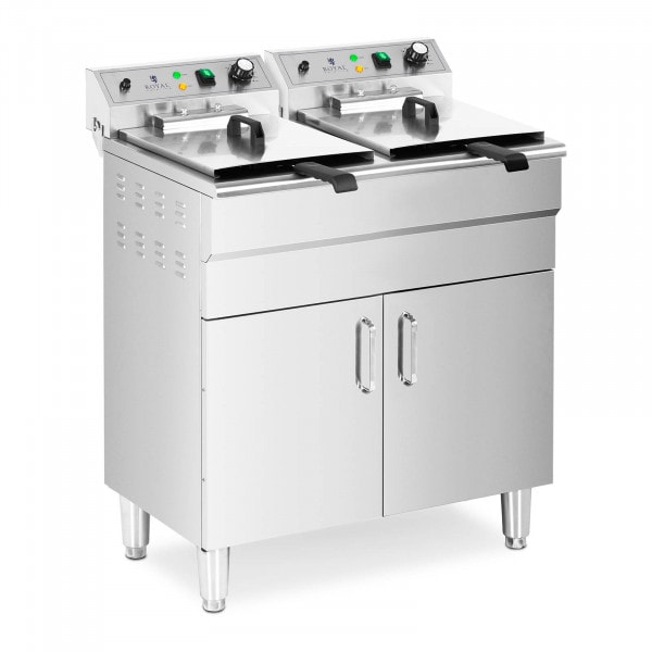 Double Deep Fat Fryer - 26 L - 10,000 W - drain tap - cold zone - with base cabinet