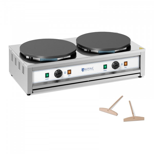 Crepe Maker - 2 heating plates - 2 x 400 mm - 2 x 3,000 W