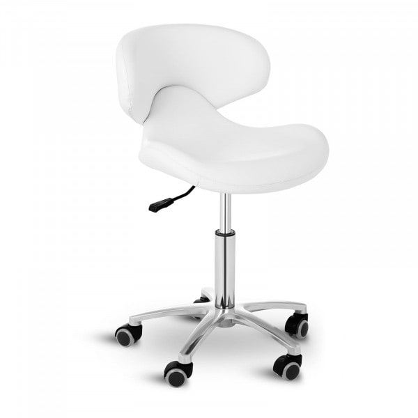 B-WARE Stool Chair with Back ANDRIA WHITE