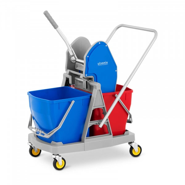 Cleaning trolley - with wringer - 2 buckets - 40 L