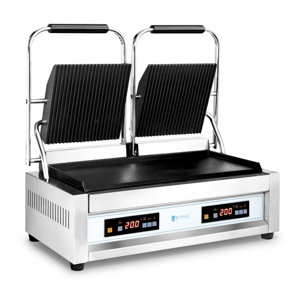 Double Contact Grill - 2 x 1,800 W - Royal Catering - smooth/ribbed