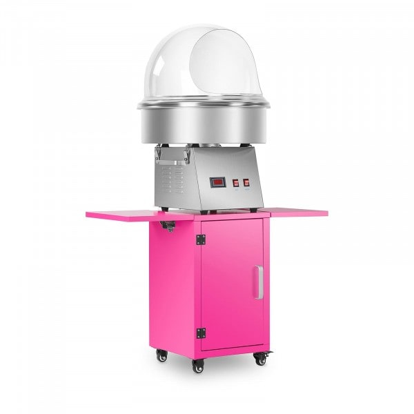 Candy Floss Machine Set with Wagon and Splatter Guard - 52 cm - Stainless Steel/Pink