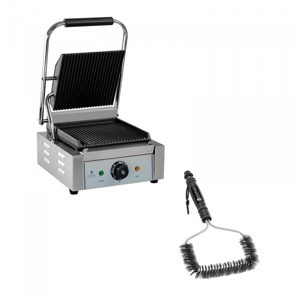 Contact Grill and Grill Brush Set - ribbed - 1,800 W