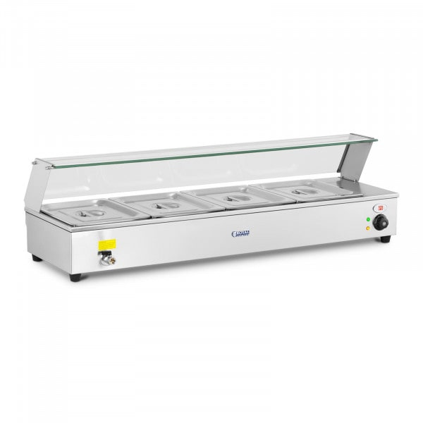 Bain-Marie - incl. 4 x GN 1/2 containers - drain tap