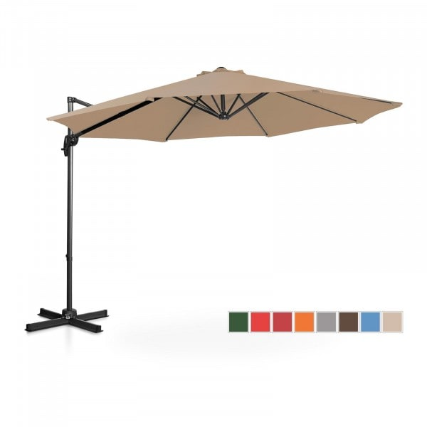 Factory second Hanging Parasol - taupe - round - Ø 300 cm - rotatable