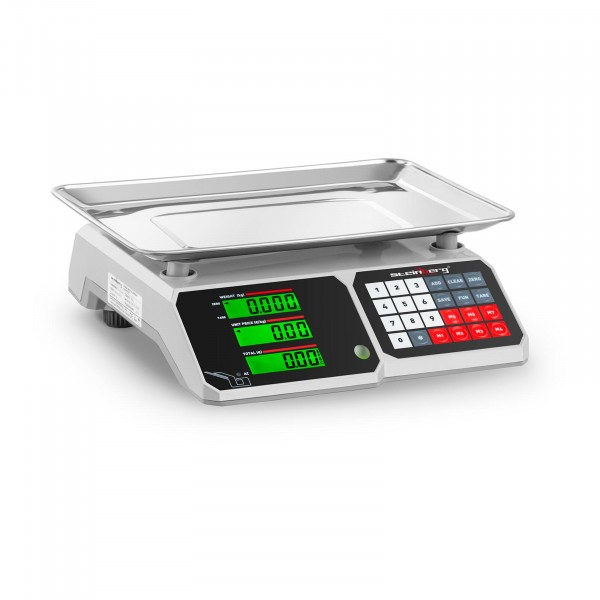 B-WARE Price-Calculating Scale - 30 kg / 1 g - 34.1 x 24.1 cm - LCD