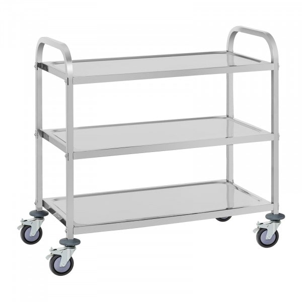 Stainless Steel Serving Trolley - 3 Trays - up to 150 kg
