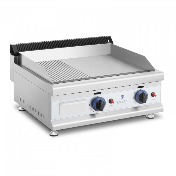 Gas Griddle - 60 x 40 cm - smooth/ribbed - 2 x 3,100 W - natural gas - 20 mbar