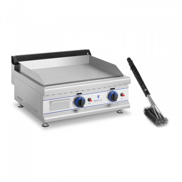 Double Gas Griddle Set with 3-Sided Grill Brush - 65 cm - propane/butane - 30 mbar