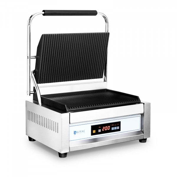 Contact Grill - 2,200 W - Royal Catering - large plate - ribbed