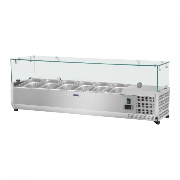 Countertop Refrigerated Display Case - 140 x 39 cm - 5 GN 1/3 Containers - Glass Cover
