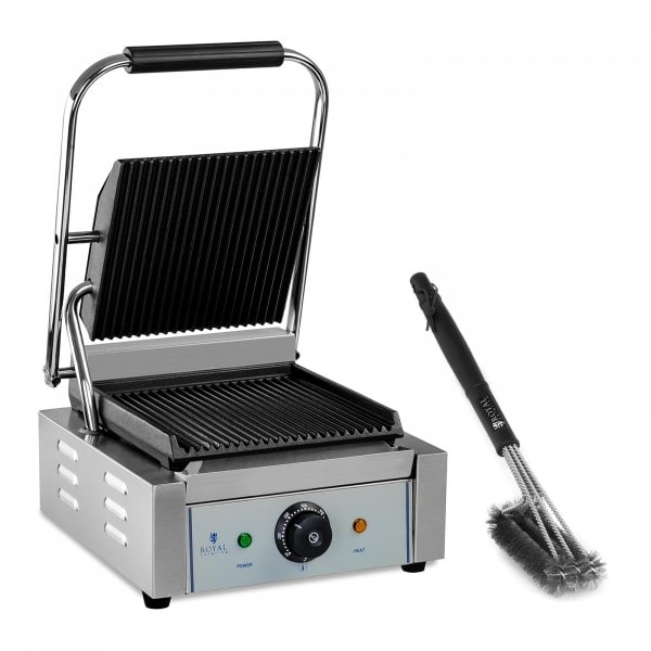Contact Grill and 3-Sided Grill Brush Set - ribbed - 1,800 W