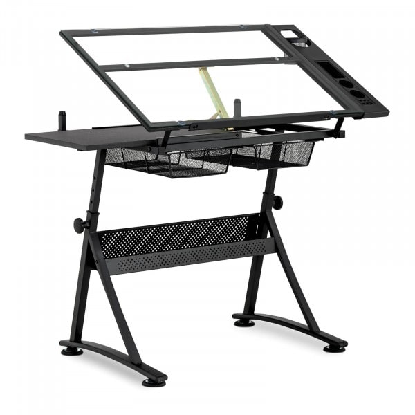 Factory second Drafting Desk - 120 x 60 x 90 cm - tiltable - glass top