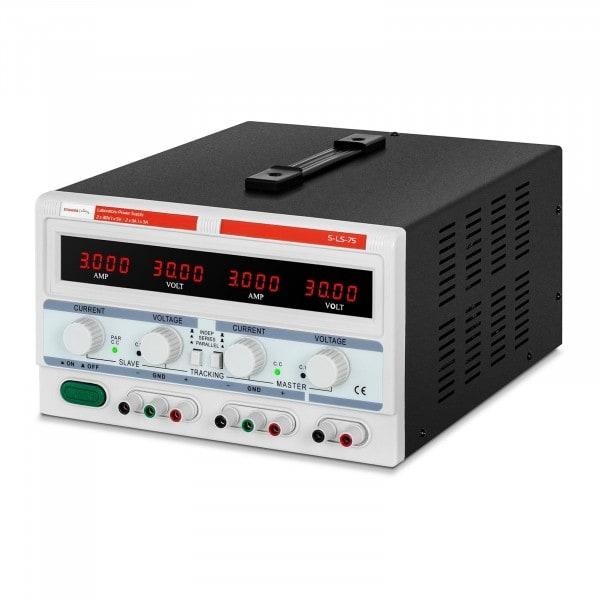 Laboratory Power Supply - 2 x 0-30 V / 0-3 A DC - 1 x 5 V / 3 A - 180 W