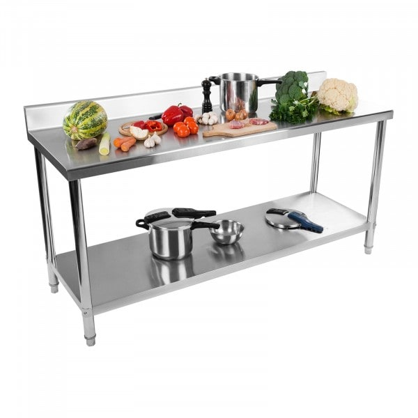 B-WARE Stainless Steel Table - 180 x 60 cm - upstand - 170 kg weight capacity
