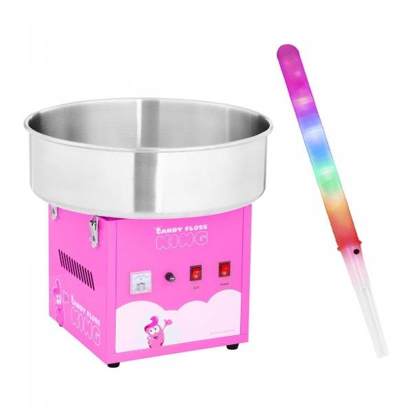Cotton Candy Maker with LED Cotton Candy Sticks - 52 cm - 1,200 W - 50 pcs. - pink