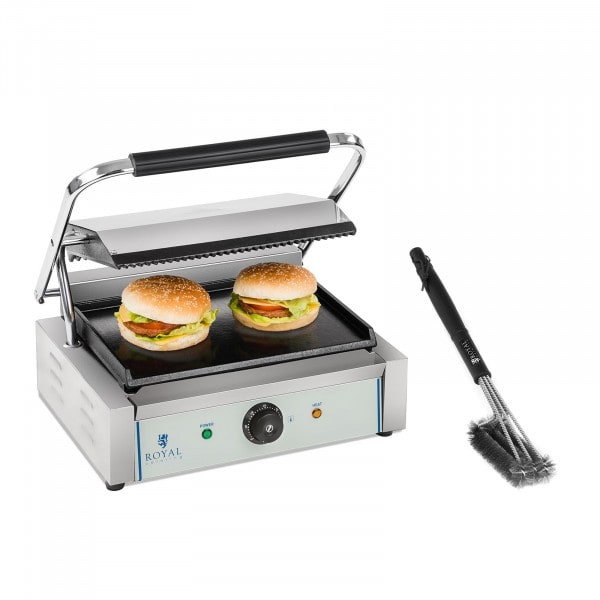 Contact Grill and Grill Brush Set - 2,200 W - ribbed top