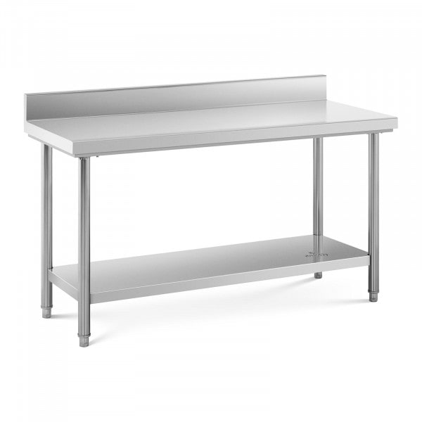 Stainless Steel Work Table - 150 x 60 cm - upstand - 159 kg capacity